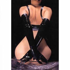 Черные длинные перчатки - Одежда (латекс, винил)