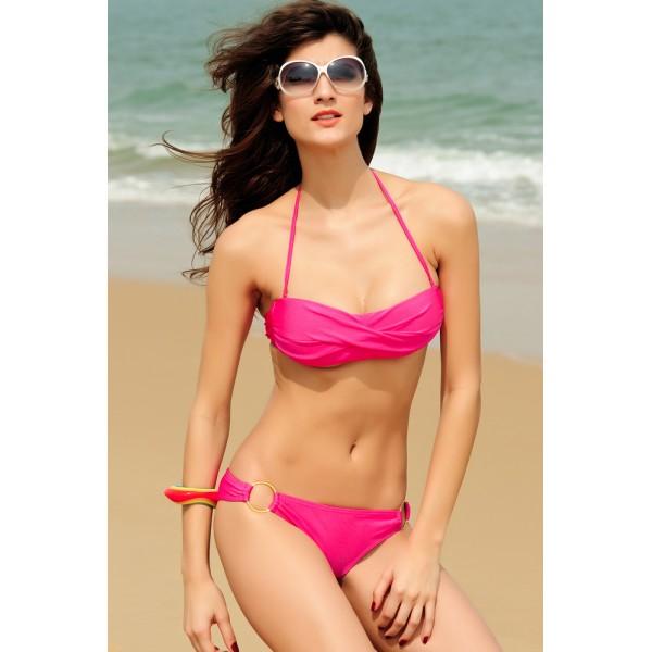 Pink bikini swimsuit with metallic stakani.. Артикул: IXI11098