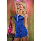 Синее мини платье со стразами.