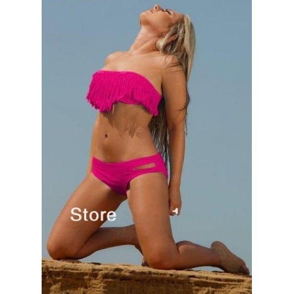 Купить онлайн Розовый купальник бикини с металлическими встаками. фото цена акция распродажа