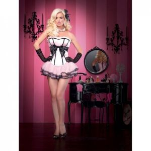 SALE! Corset pink with black bow