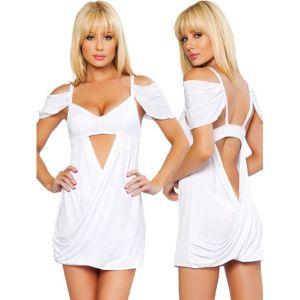 Мини-платье с ниспадающими тканевыми волнами