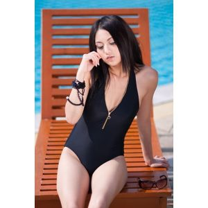 One-piece swimwear with zipper