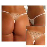 White Thong with decorative elements