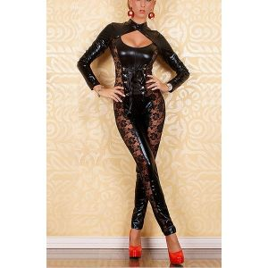 Topless vinyl jumpsuit with geprofile inserts. Артикул: IXI12343