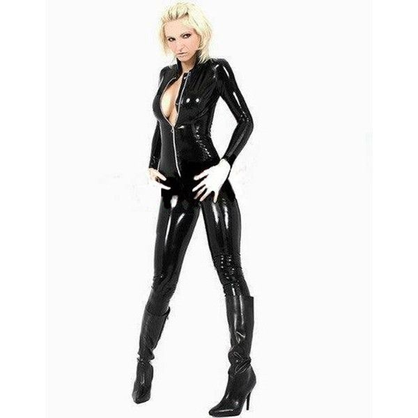 Vinyl catsuit with long sleeves