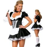 Maid costume with a fluffy skirt