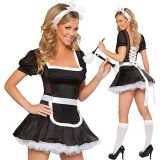 Maid costume with a fluffy skirt and headdress