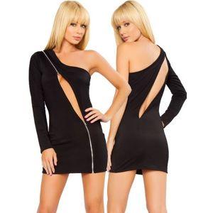 Черное облегающее платье с длинным рукавом - Платья