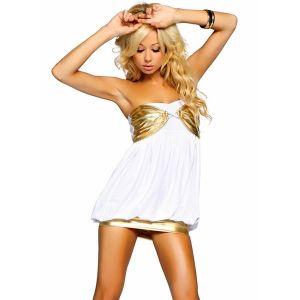 Бело-золотое мини платье