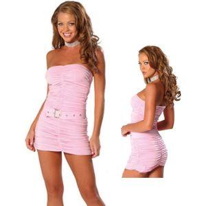 Розовое драпированное платье