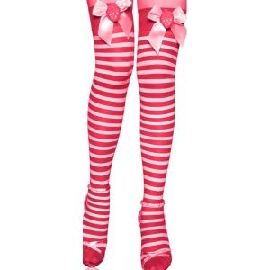Red and white striped stockings with bow and strawberries in bows