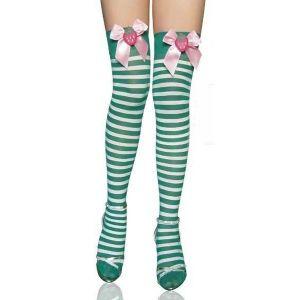 Зелено-белые полосатые чулки с бантом и клубничками в бантиках - Чулки