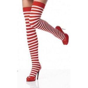 Warm nylon striped stockings