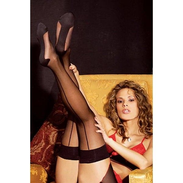 Stockings with imitation seam in the back