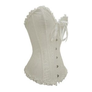 White laced corset with clasps at the front. Артикул: IXI12922