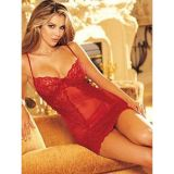 Red fishnet negligee