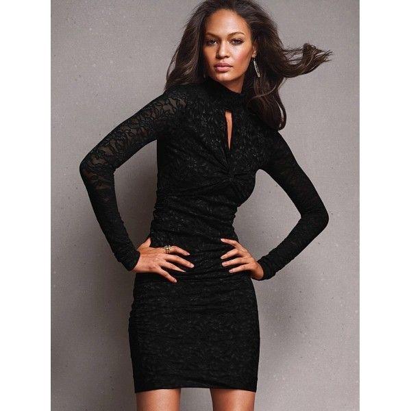 Черное гипюровое платье с оригинальным декольте L2610-2
