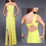 Yellow long evening dress with one-shoulder