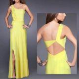 РАСПРОДАЖА! Желтое длинное вечернее платье с открытым плечом по оптовой цене