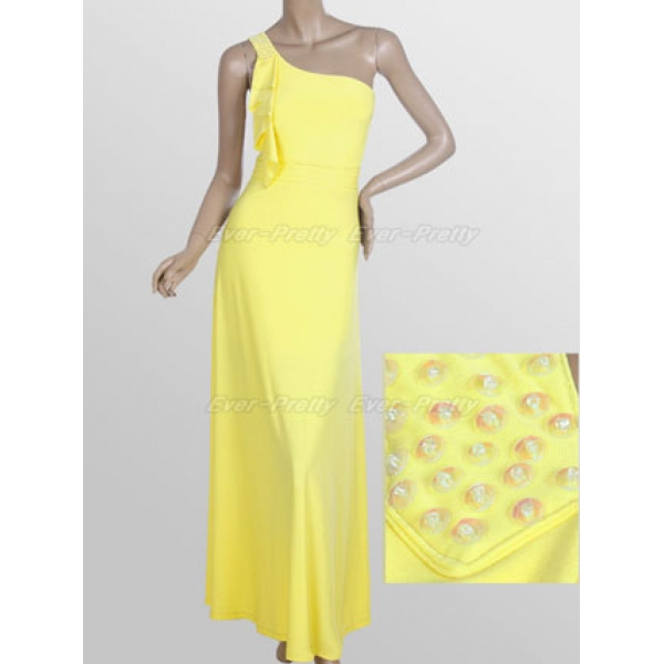 Yellow long evening dress with one-shoulder. Артикул: IXI13158