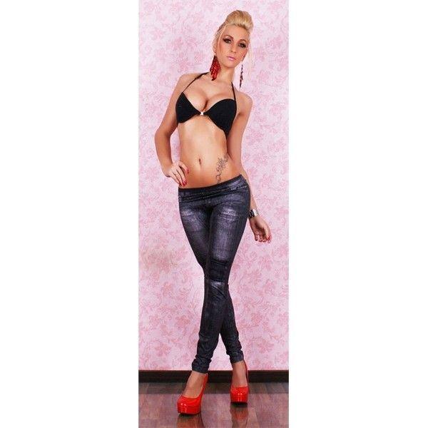 Леггинсы облегающие с принтом имитацией джинс