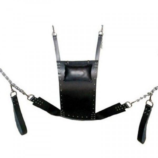 BDSM (БДСМ) - Черный кожаный фиксатор, качель для секса