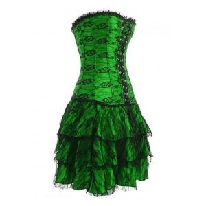 Long green corset with lace. Артикул: IXI13309