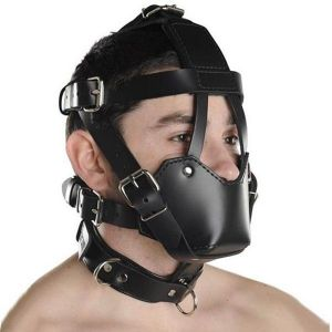 Black leather muzzle with durable straps. Артикул: IXI13571