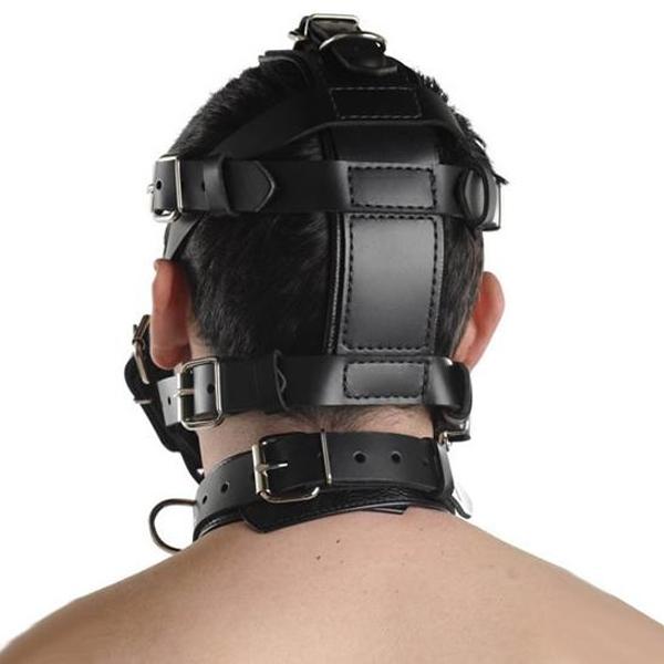BDSM (БДСМ) - <? print Черный кожаный намордник с прочными ремнями; ?>