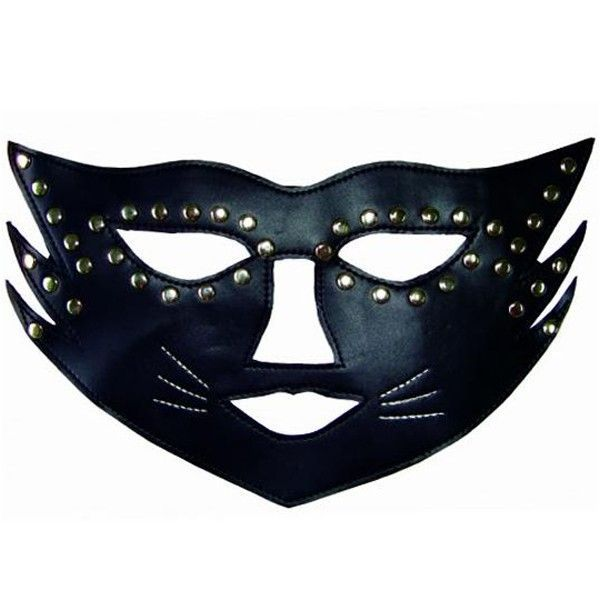 Черная маска кошки с  паетками