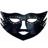 БДСМ - Черная маска кошки с  паетками