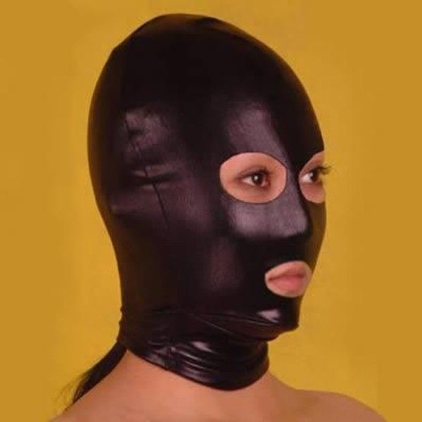 Black vinyl mask with cutouts