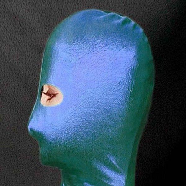 BDSM (БДСМ) - РАСПРОДАЖА! Зеленая/синяя маска из винила, глаза