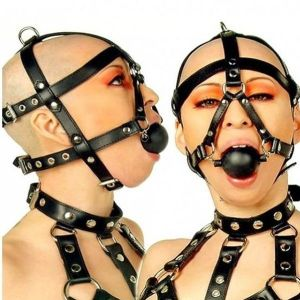 Black leather ball gag for the mouth