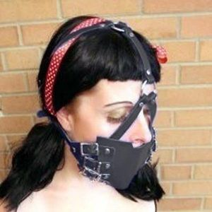 Black soft rubber muzzle with metal rings
