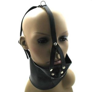 Black leather muzzle with collar