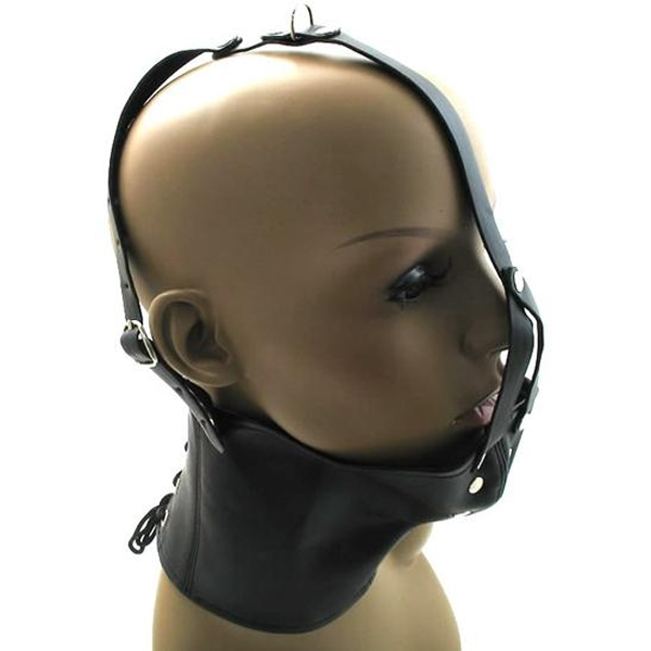 Black leather muzzle with collar. Артикул: IXI13680