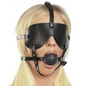Black muzzle with a mask and a gag. Артикул: IXI13682