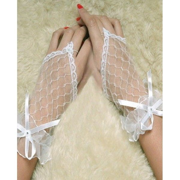 White lace short gloves
