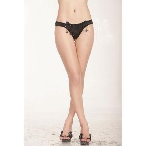 Black Thong embellished with beads. Артикул: IXI13722