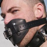 Black leather gag for the mouth