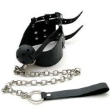 Black leather gag with chain