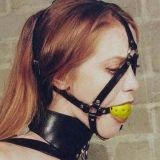 Leather muzzle with yellow gag