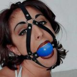 SALE! Black leather muzzle with gag