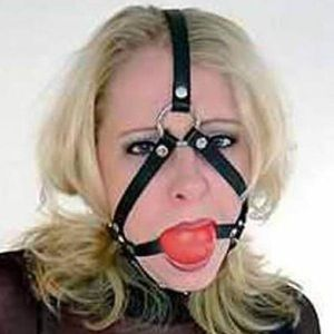 Black leather muzzle with ball gag. Артикул: IXI13790
