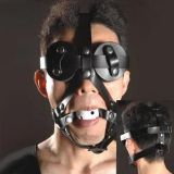 Black leather muzzle with gag white