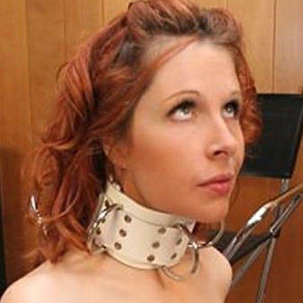 BDSM (БДСМ) - Белый кожаный ошейник с металлическими паетками