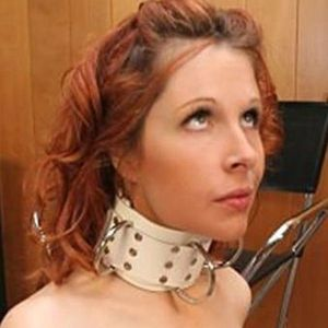 White leather collar with metal sequins