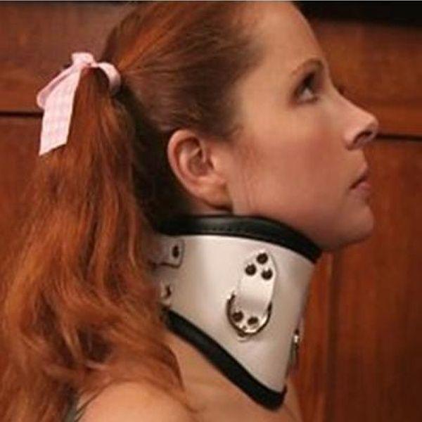 BDSM (БДСМ) - Кожаный белый ошейник